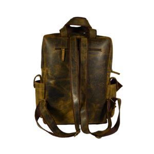 Crazy Horse Premium Leather Travel & Laptop backpack )