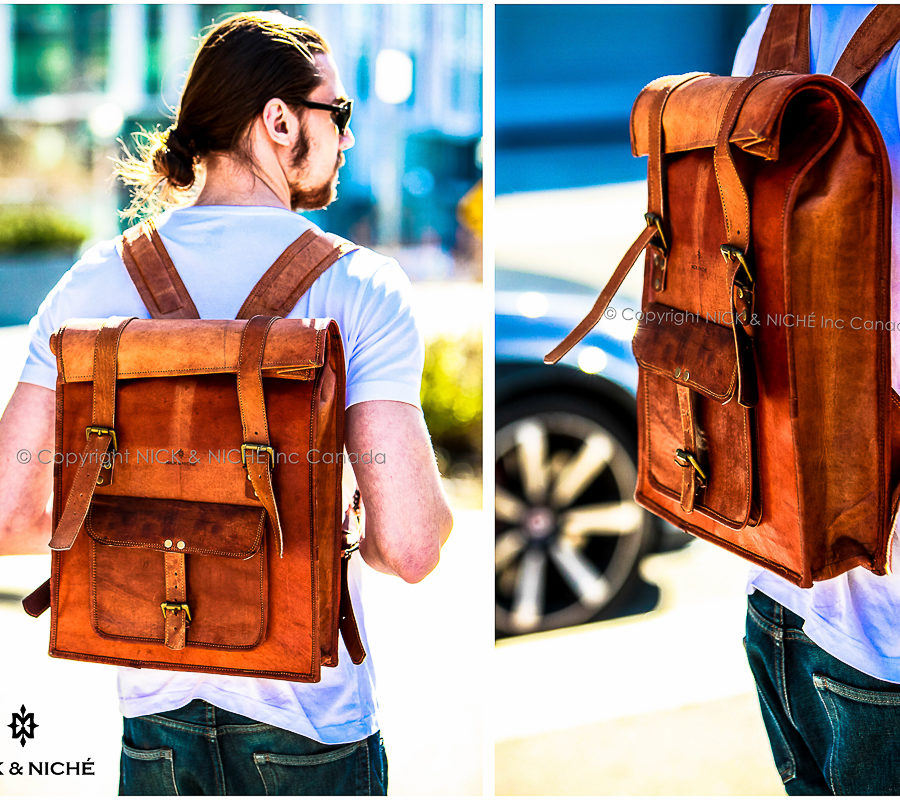Genuine Leather Rolltop backpack for College 5aa54fbd4c87c